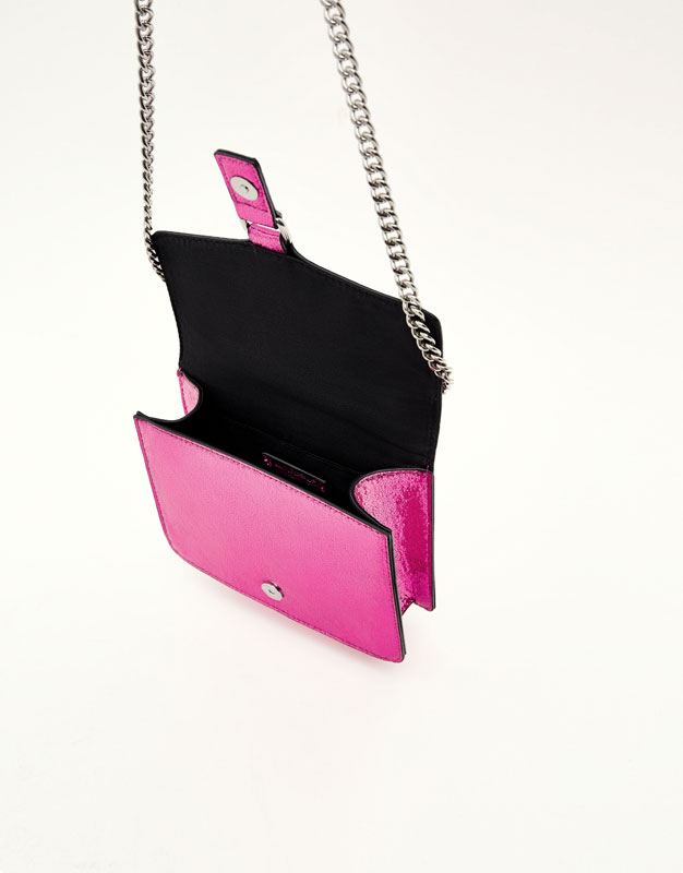 Colourful crossbody bag with crackled effect