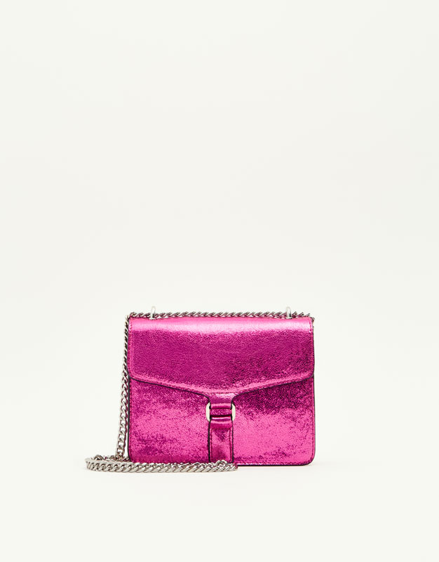 Pull&Bear - femme - accessoires - tout afficher - sac à bandoulière craquelé couleur - fuchsia - 16450214-I2017