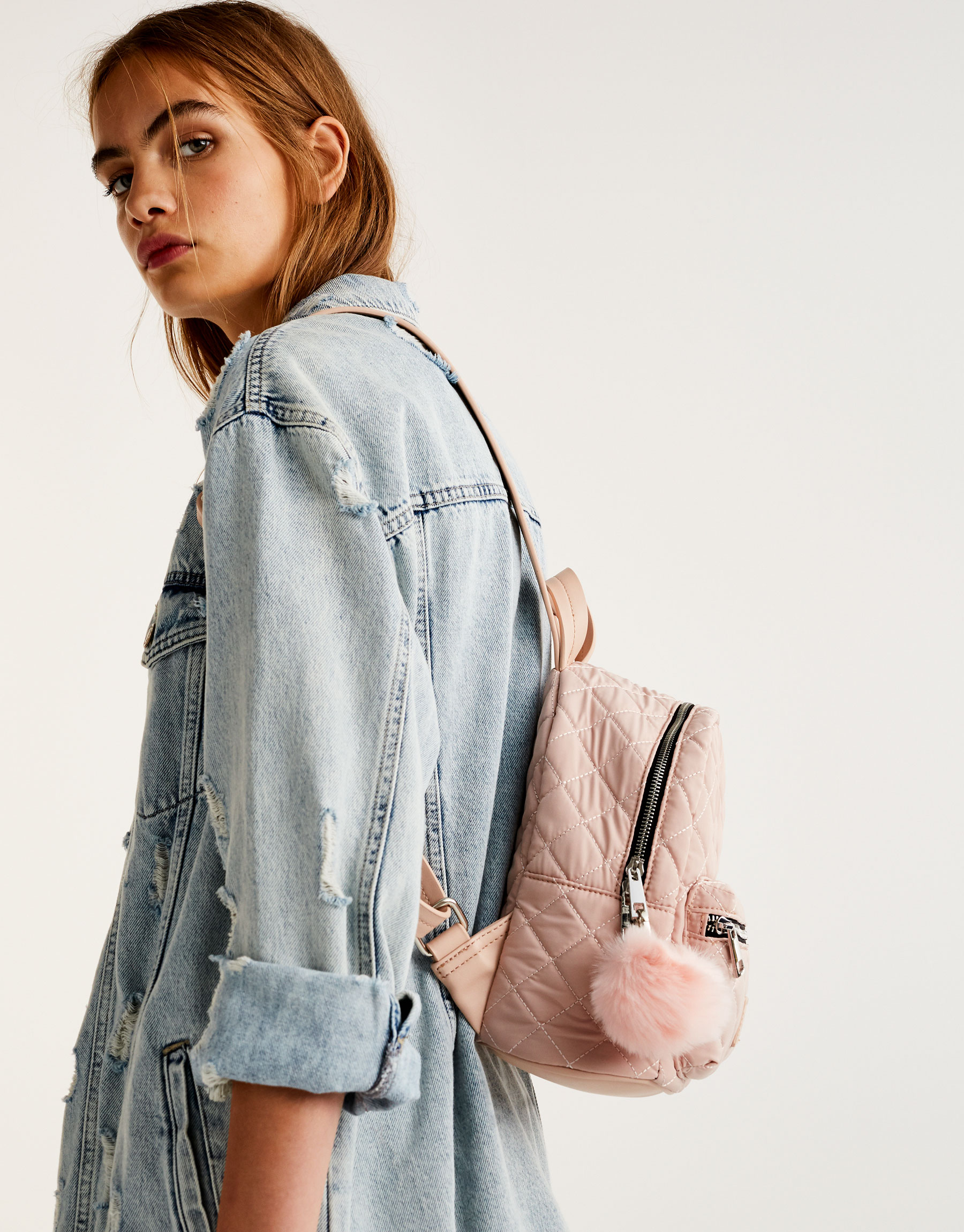 Mini nude quilted backpack