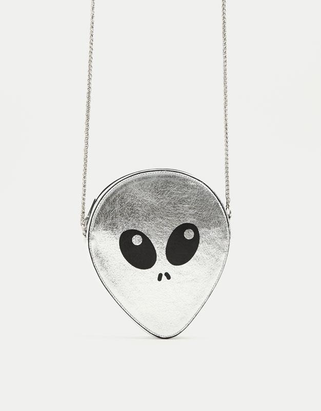 Mini alien-shaped crossbody bag