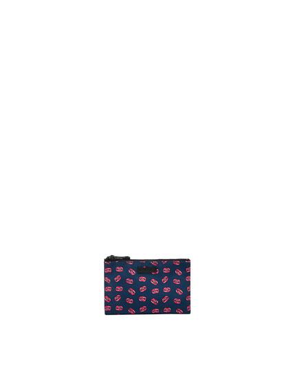 Portemonnaie mit doppeltem Reißverschluss in Blau