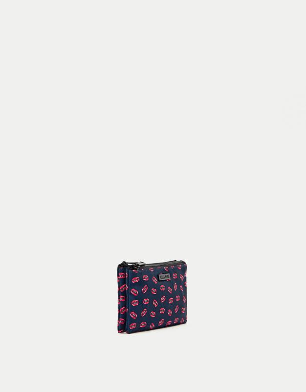 Blue double zip purse