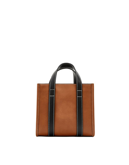 Brown mini tote/crossbody bag.