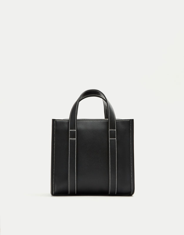Black mini tote/crossbody bag.