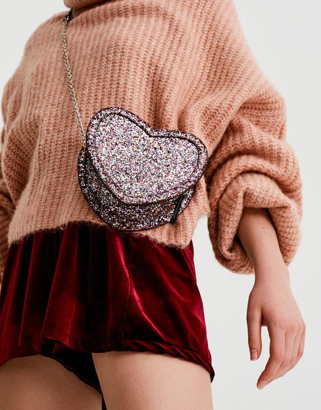 Pull&Bear - femme - accessoires - tout afficher - sac à bandoulière cœur glitter - multicolore - 16925214-I2017