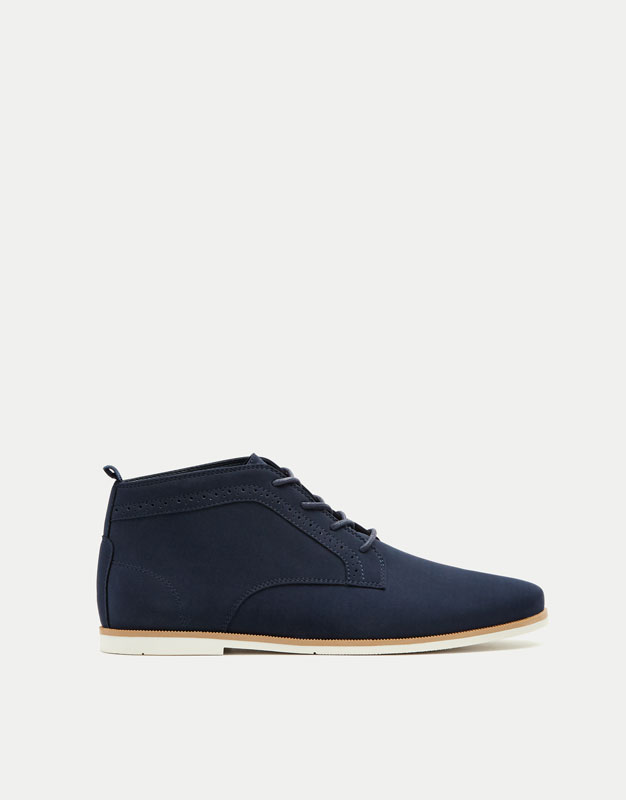Blue slim fit ankle boots