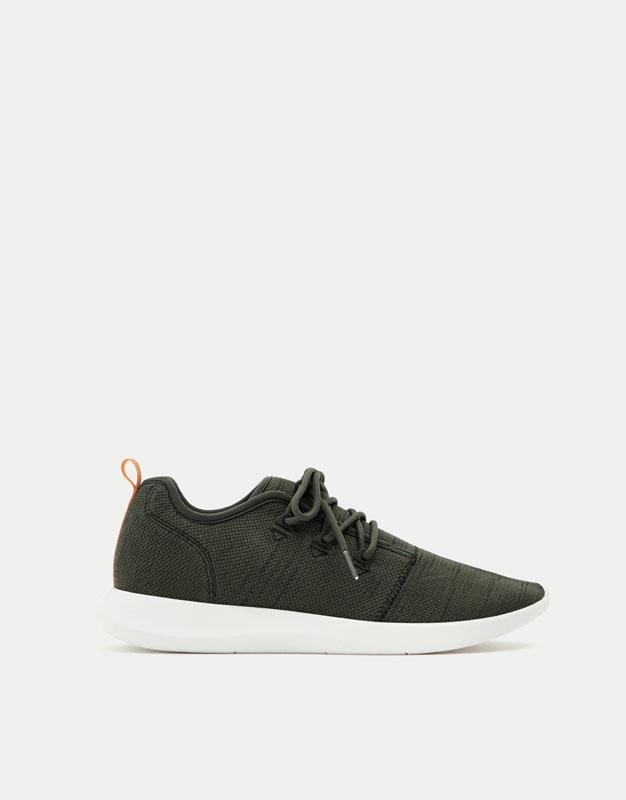 Khaki asymmetric sneakers