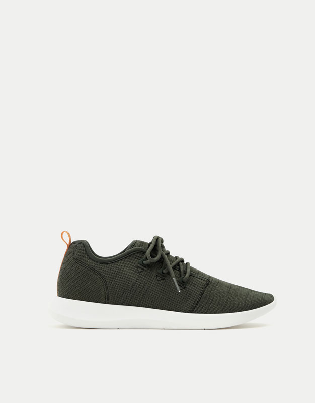 Khaki asymmetric sneakers