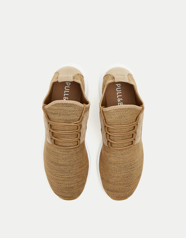 Sand-coloured fabric sneakers