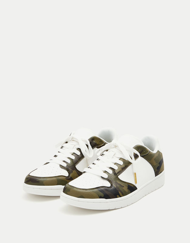 Camouflage print retro basketball sneakers