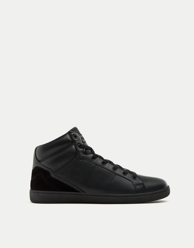 Felt monochrome high-top sneakers
