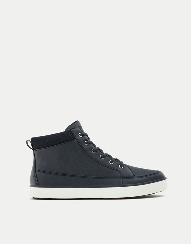 Blue felt high-top sneakers with zip