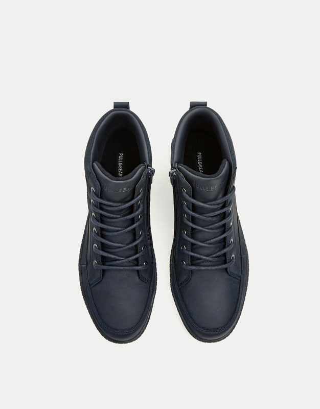 Blue felt high-top sneakers with zip