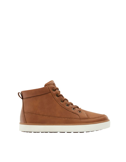 Leather and felt high-top sneakers with zip