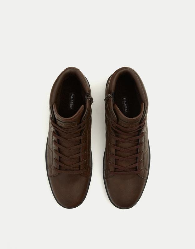 Brown felt high top sneakers