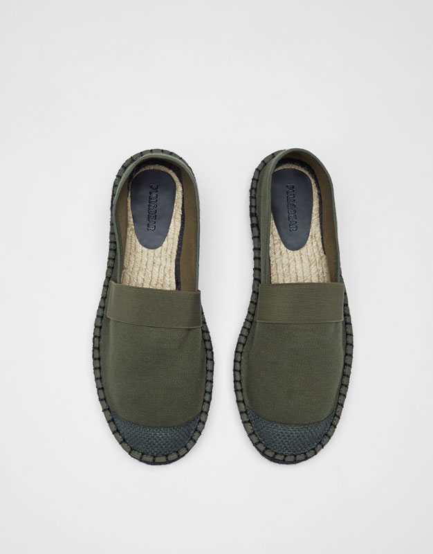 Green jute espadrilles with stretch