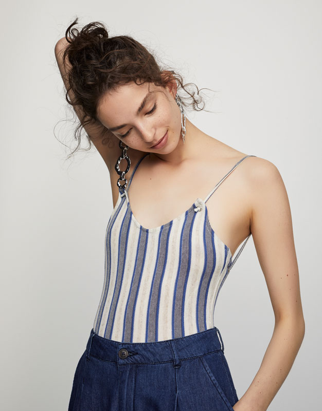 Bodysuit with corset-style back
