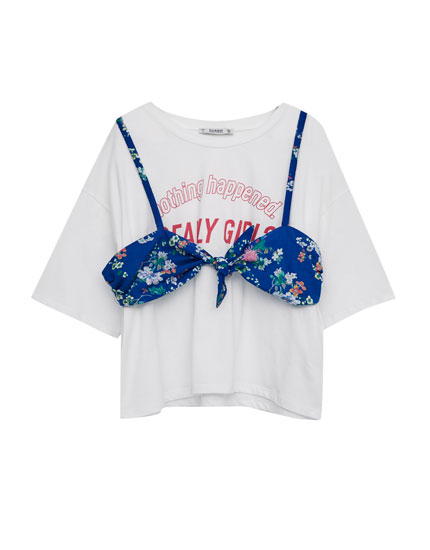 T-shirt with floral print bra top