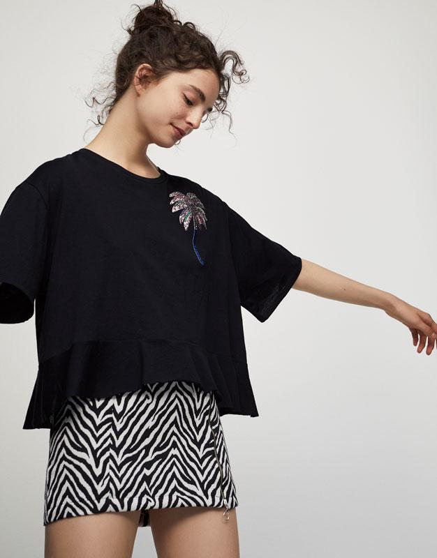 Shiny palm tree appliqué T-shirt