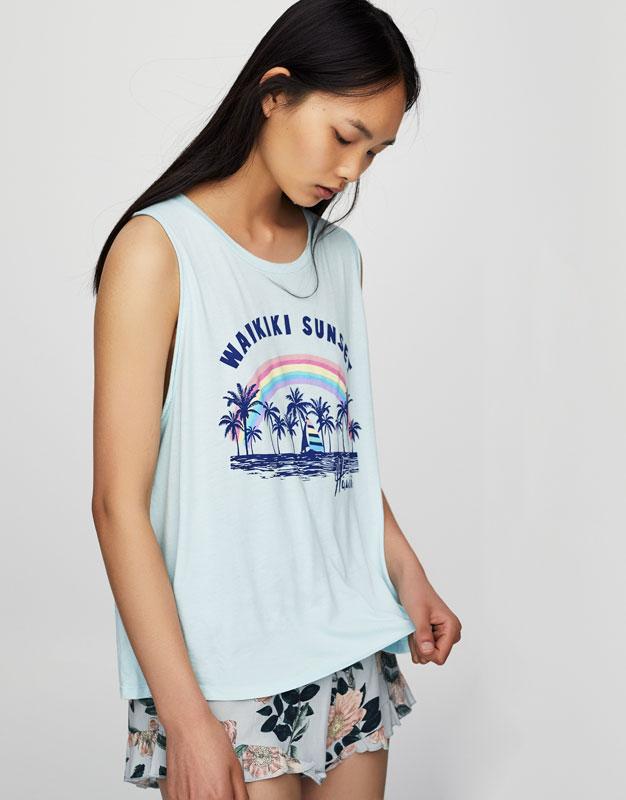 Printed sleeveless T-shirt