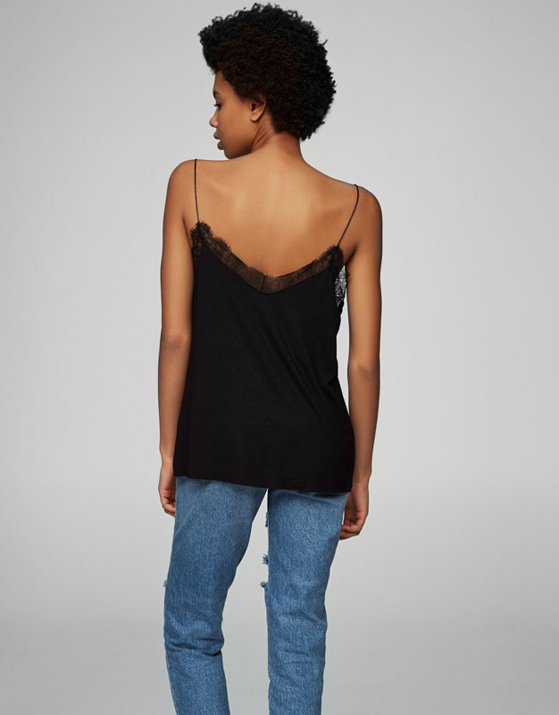 Strappy top with lace neckline