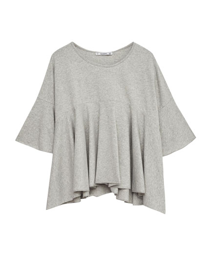 T-shirt with frilled hem