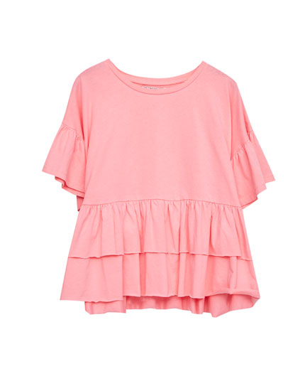 T-shirt with frilled hem and sleeves
