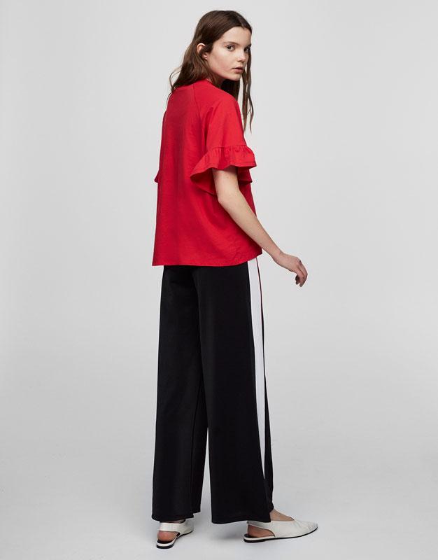 Frilled sleeve T-shirt