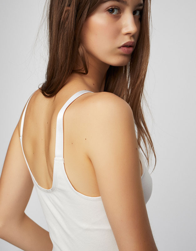 Strappy ribbed crop top
