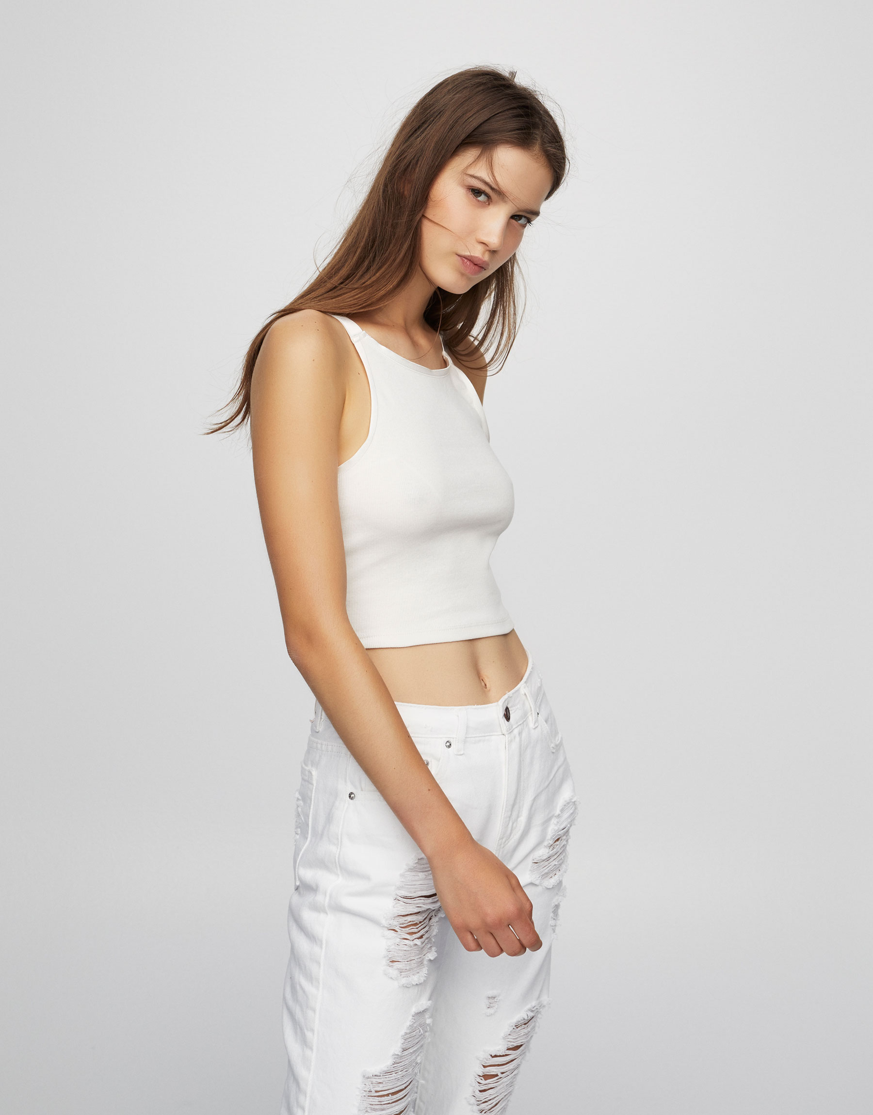 Crop top canalé de alças