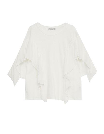 Contrast fabric frilled T-shirt