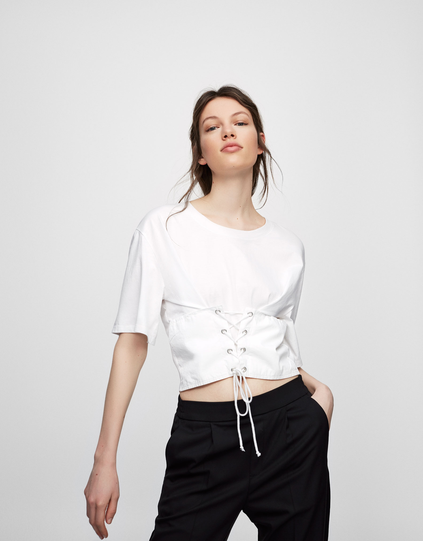 Cropped t-shirt with corset