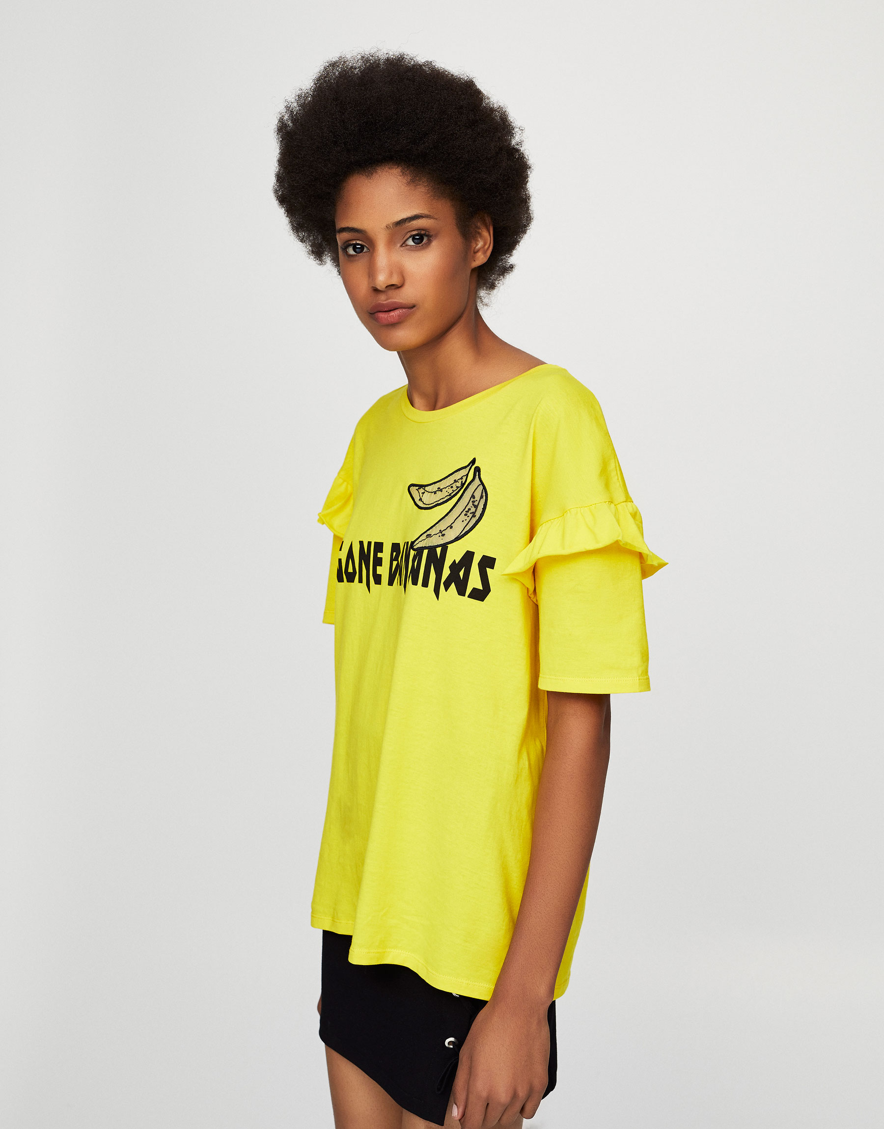 Gone bananas T-shirt with ruffled sleeves