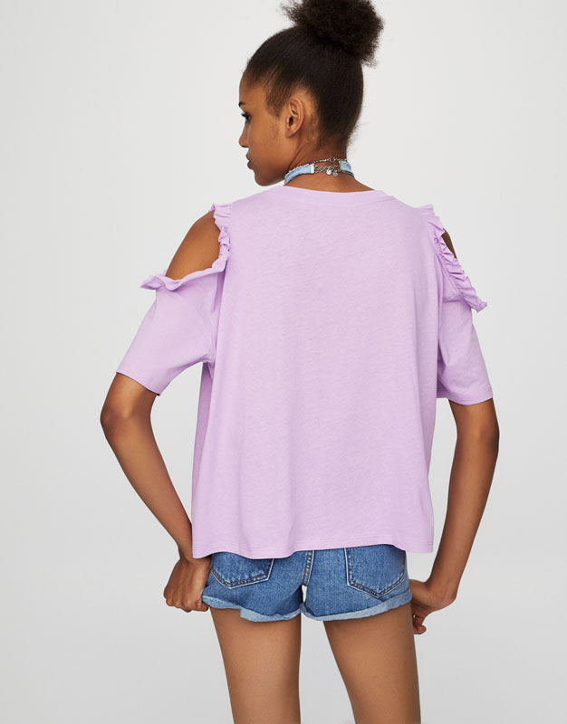 Graphic T-shirt with ruffled cut-out shoulders