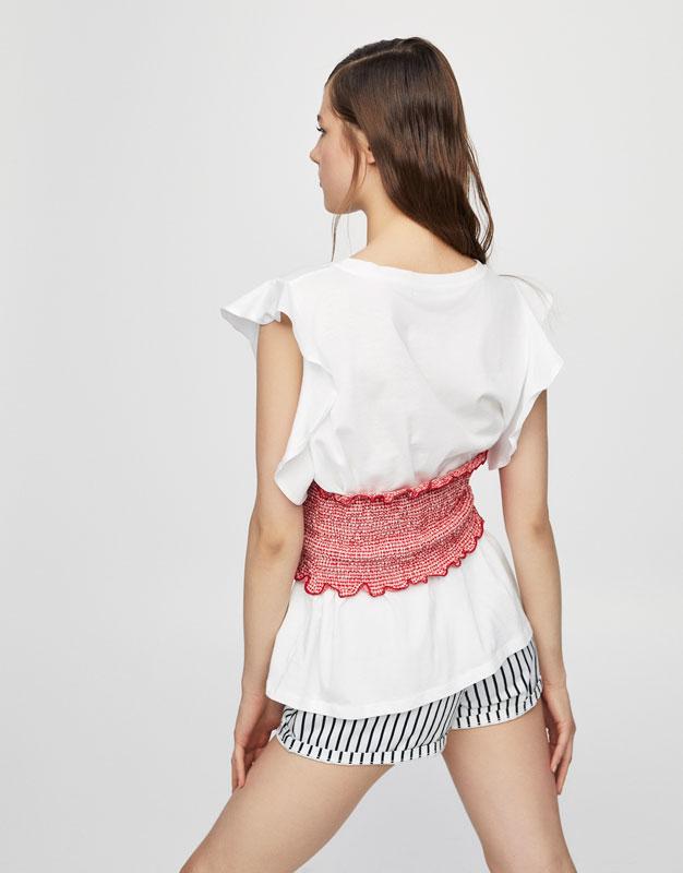 Ruffled sleeve corset T-shirt
