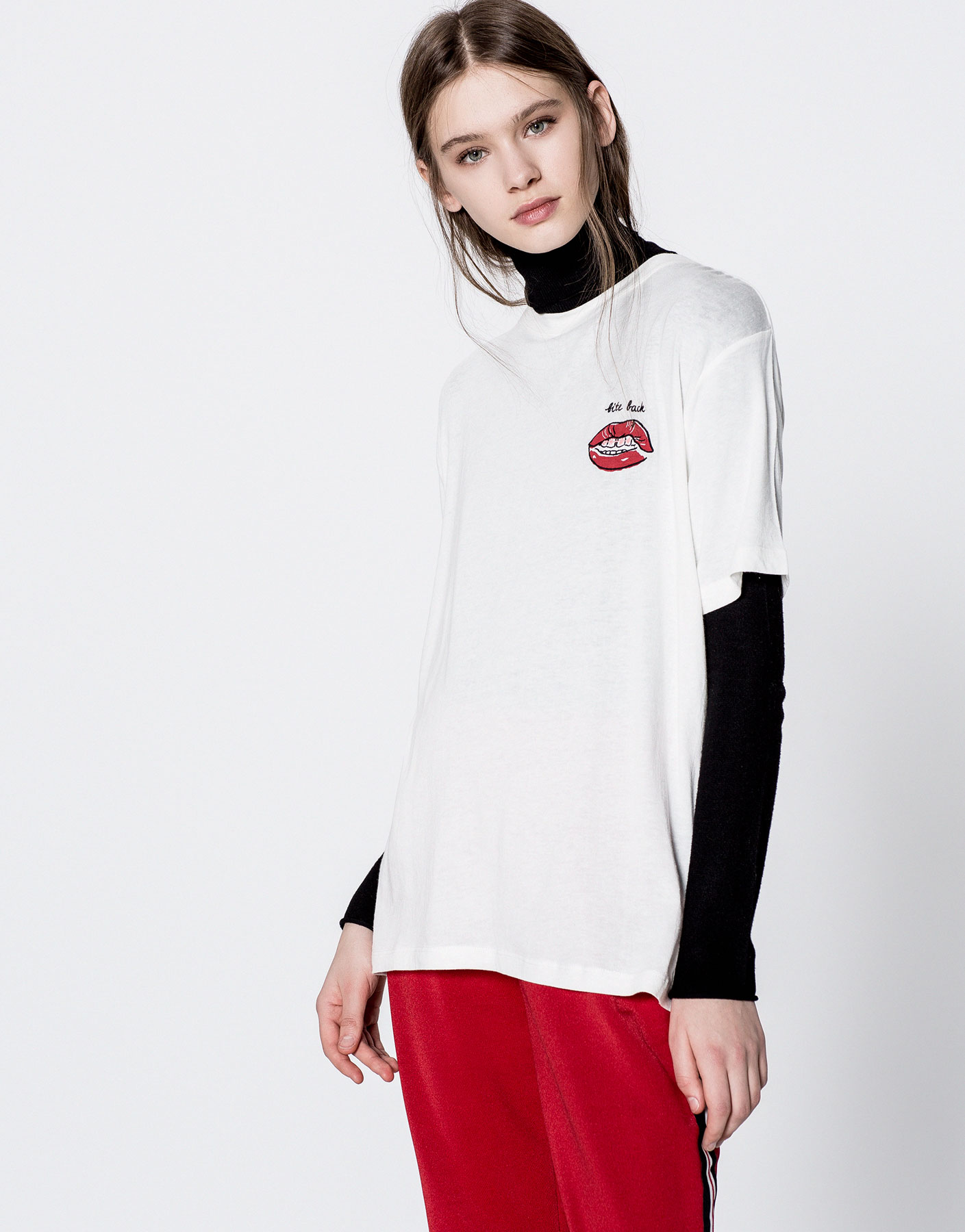Mouth embroidered T-shirt