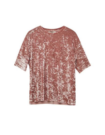 Short sleeve velvet T-shirt