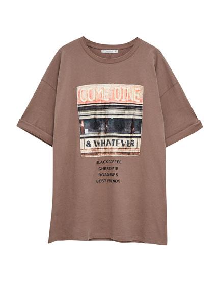 Vertical print T-shirt