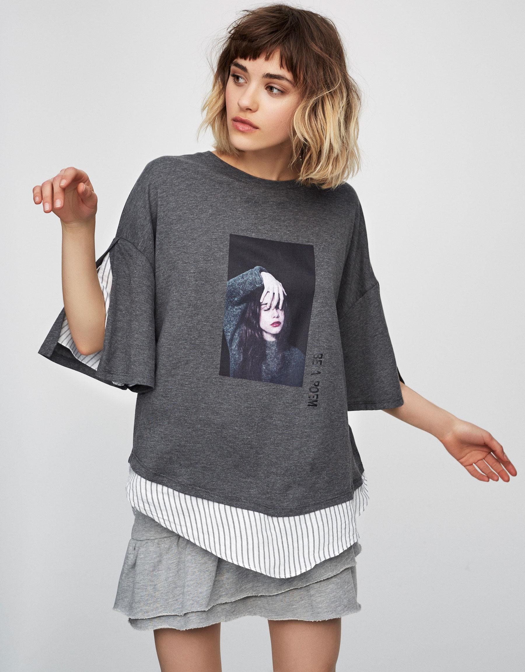 T-shirt with striped hem