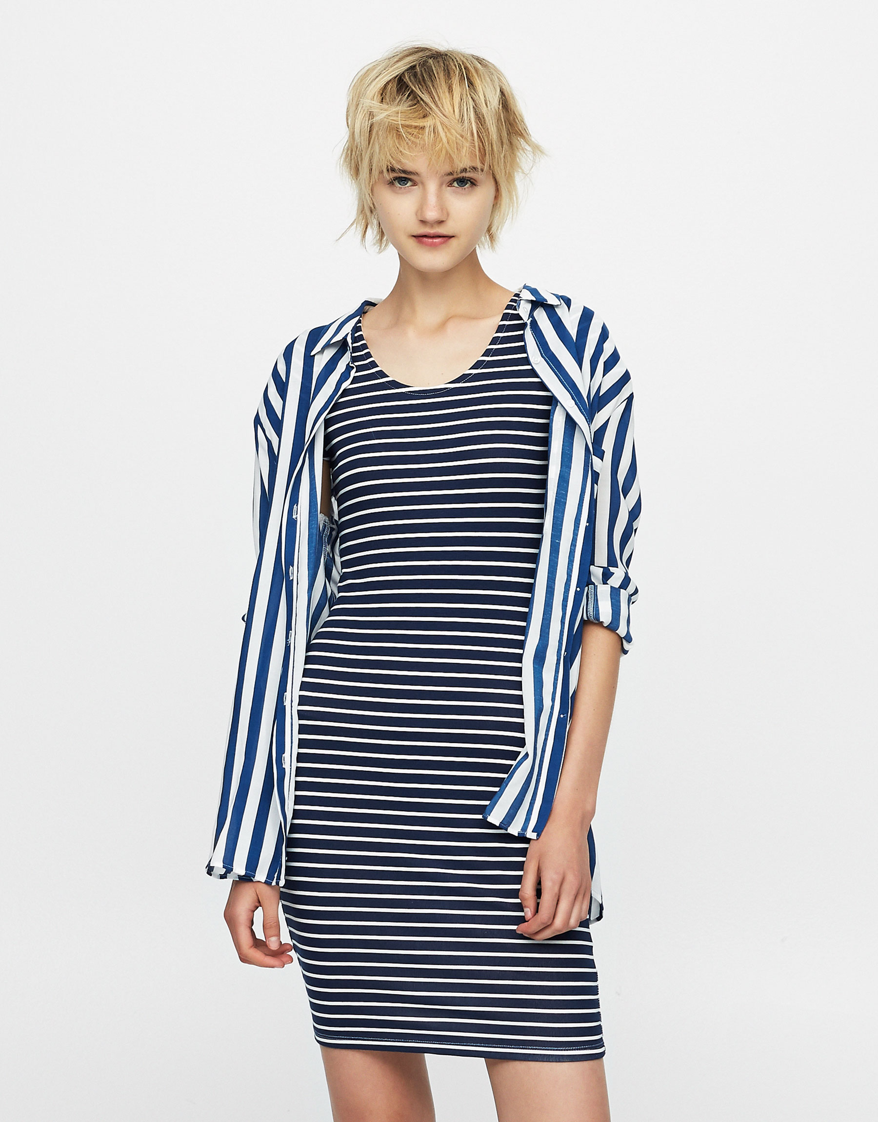Fitted dress with nautical stripes