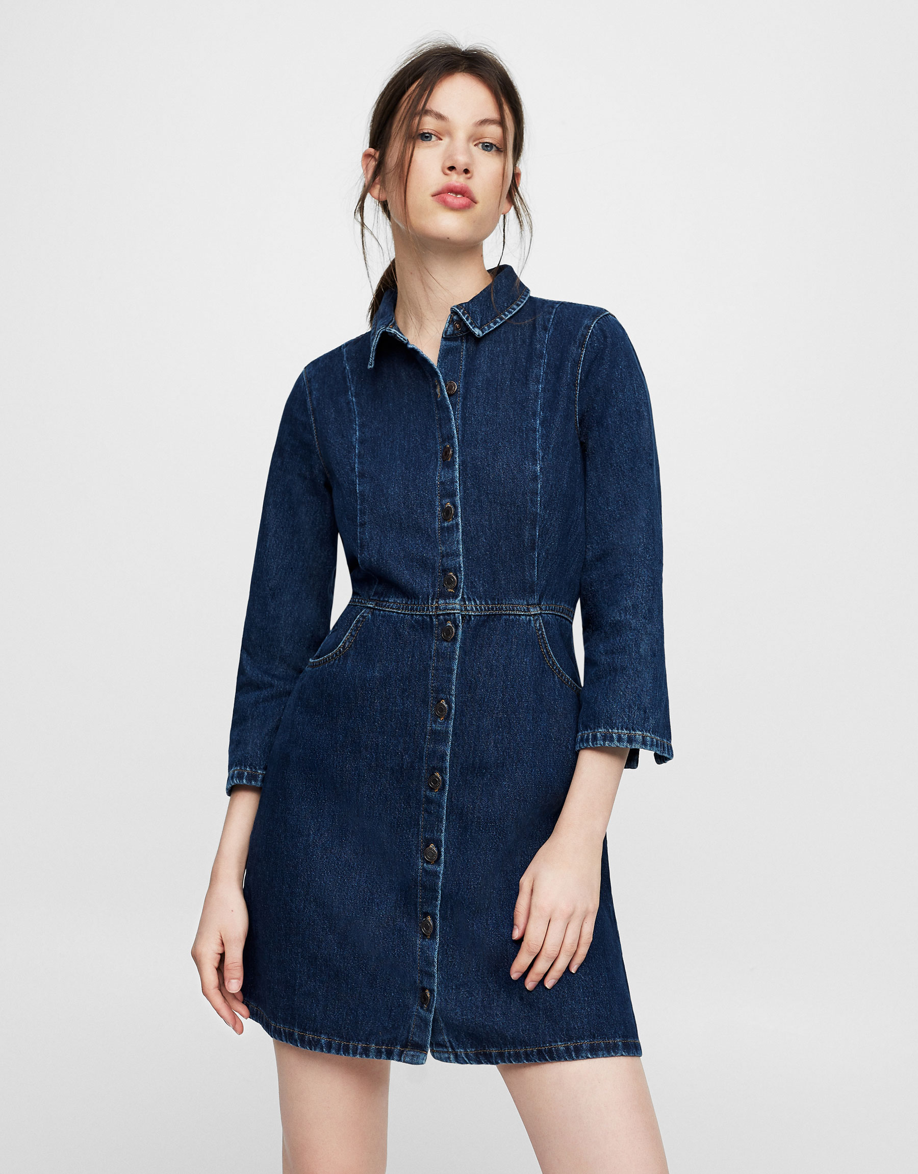 Denim dress with button fastening