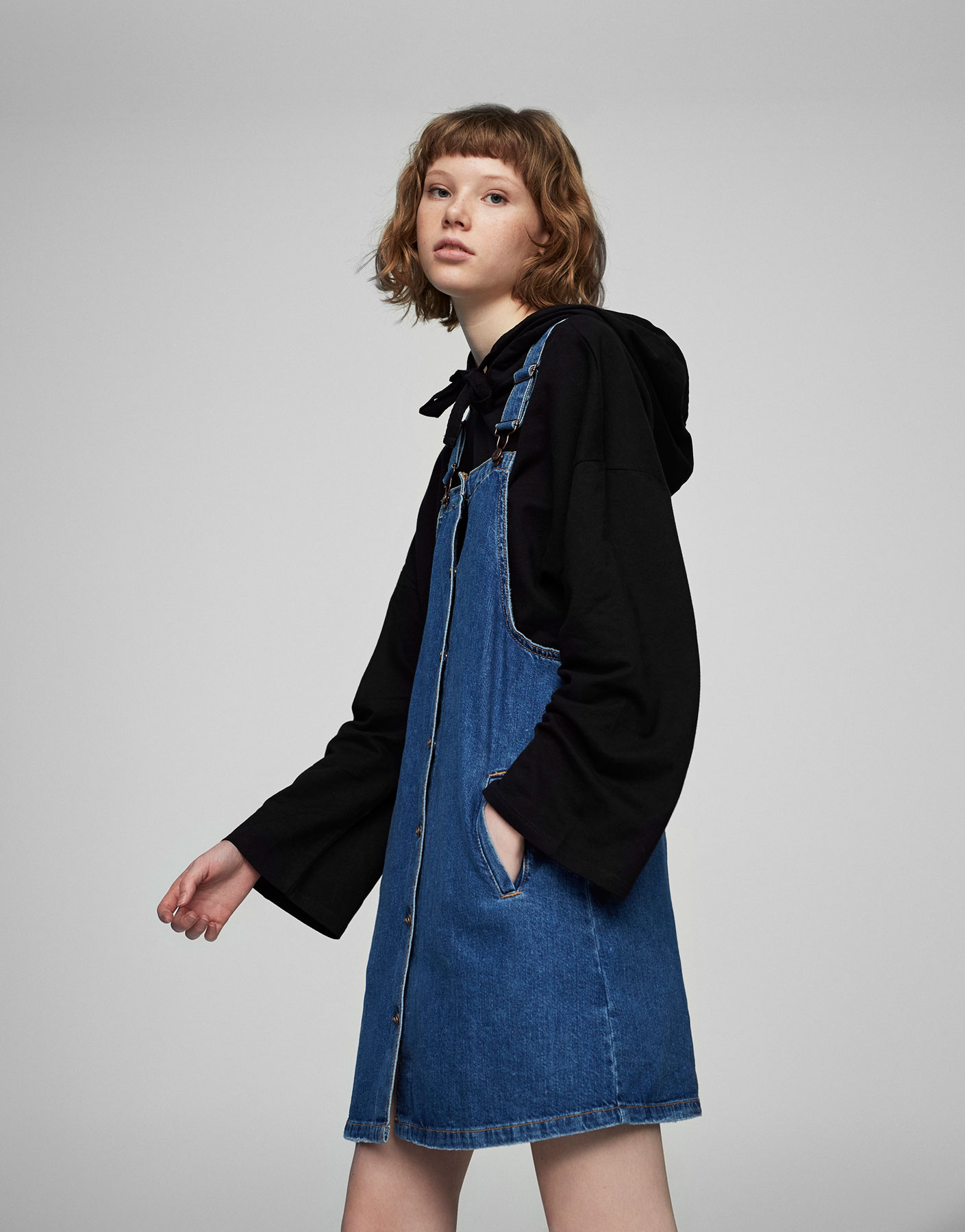 Dungaree-style denim dress