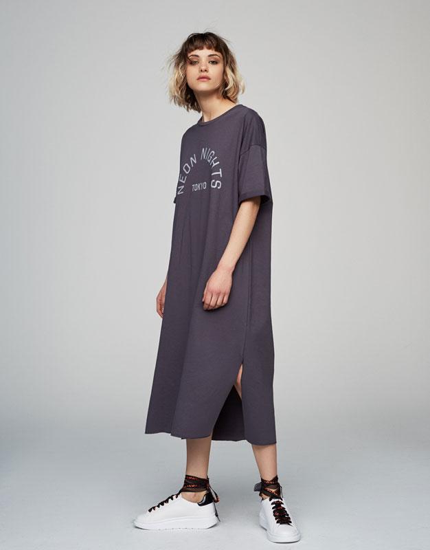 Oversized plush dress with slogan print
