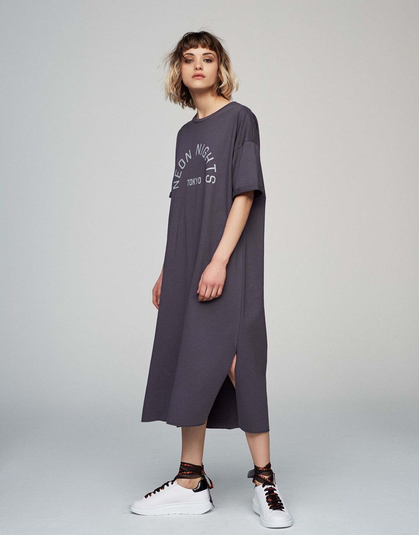 Oversized plush dress with slogan print