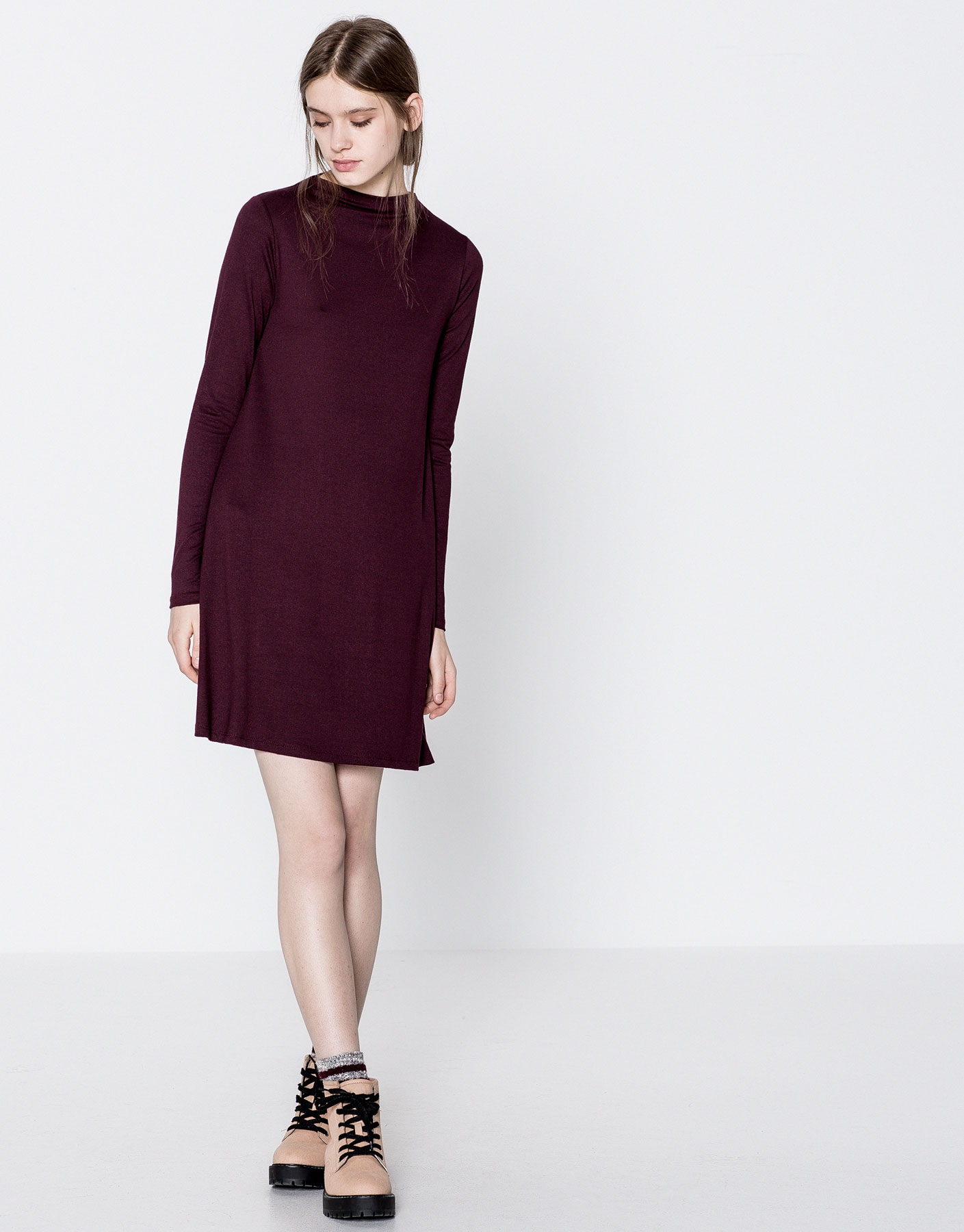 Plain funnel neck dress