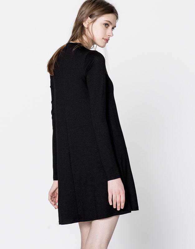 Plain funnel neck dress