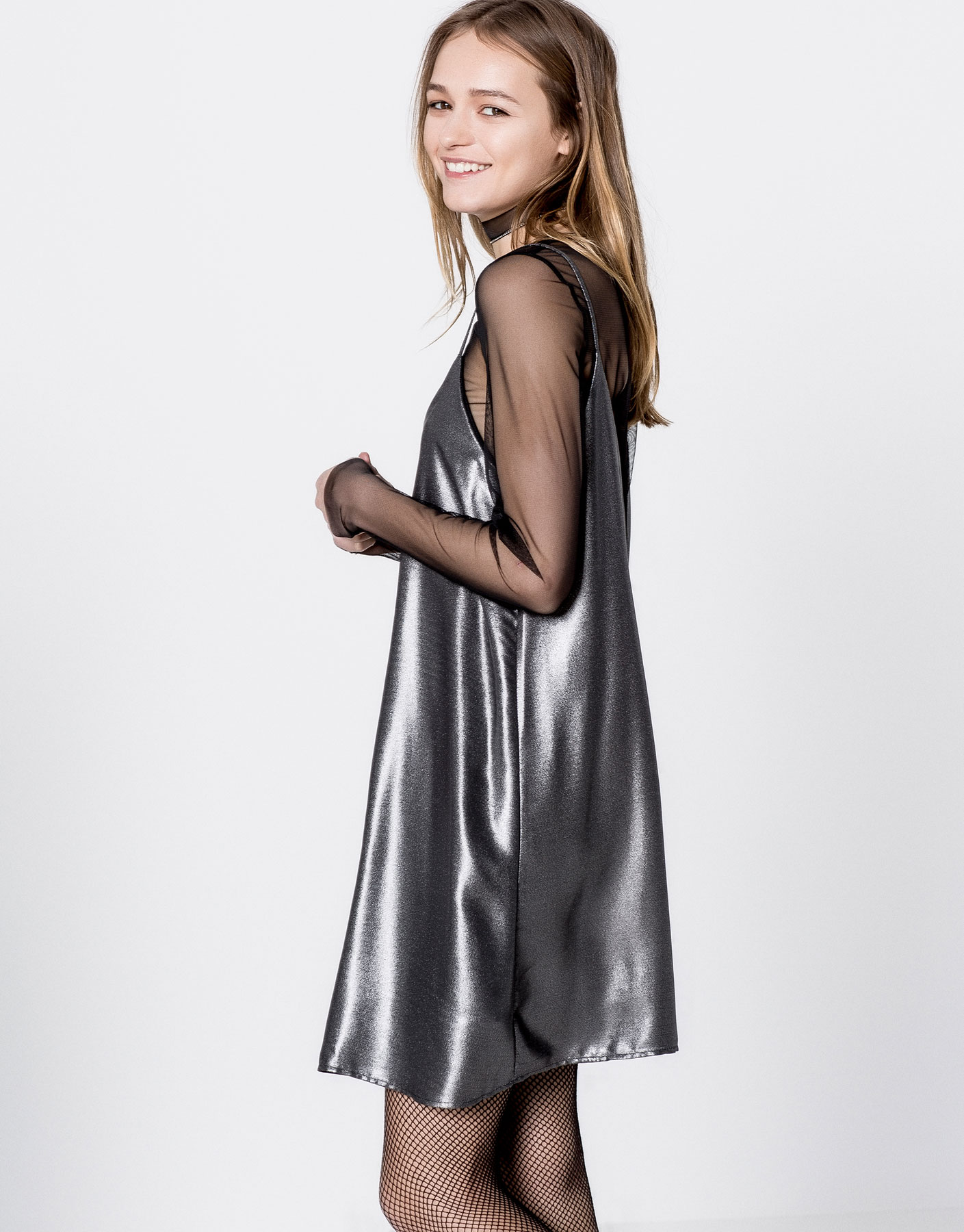 Metallic dress with tulle T-shirt