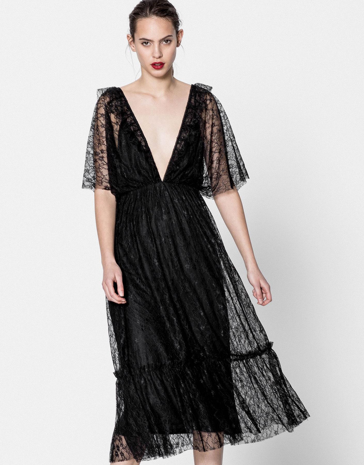 Lace V-neck evening dress