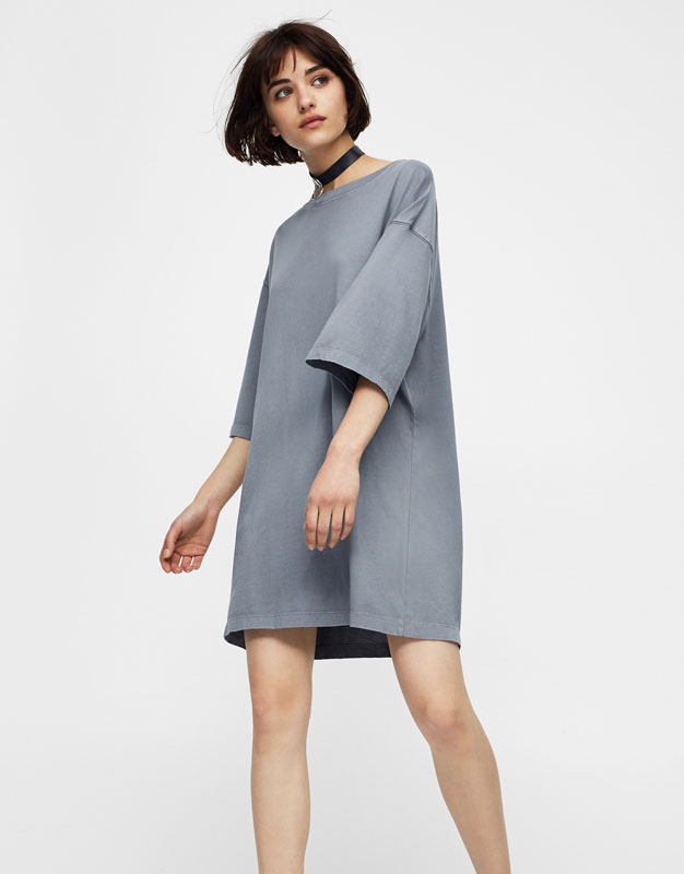 Oversized plush jersey dress