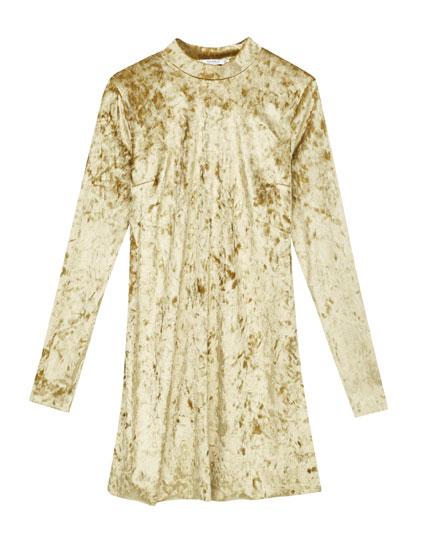 High neck velvet-effect dress